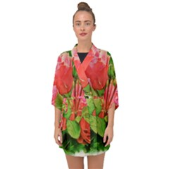 Figure Watercolor Art Nature Half Sleeve Chiffon Kimono