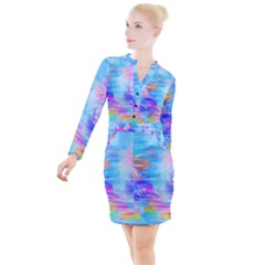 Background Drips Fluid Colorful Button Long Sleeve Dress