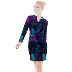 Background Art Abstract Watercolor Button Long Sleeve Dress