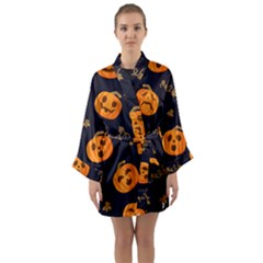 Funny Scary Black Orange Halloween Pumpkins Pattern Long Sleeve Kimono Robe by HalloweenParty