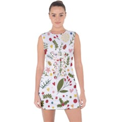 Floral Christmas Pattern  Lace Up Front Bodycon Dress by Valentinaart
