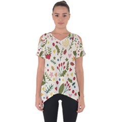Floral Christmas Pattern  Cut Out Side Drop Tee by Valentinaart