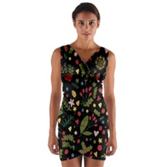 Floral Christmas Pattern  Wrap Front Bodycon Dress by Valentinaart