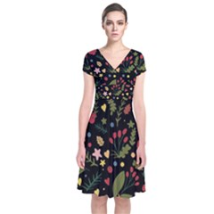 Floral Christmas Pattern  Short Sleeve Front Wrap Dress by Valentinaart