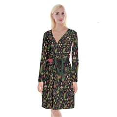 Floral Christmas Pattern  Long Sleeve Velvet Front Wrap Dress by Valentinaart
