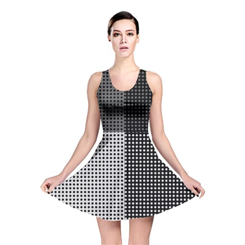 Colour Blocking Dots Reversible Skater Dress