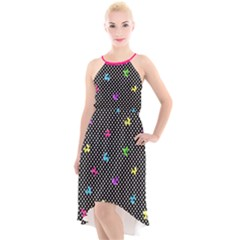 Polka Dogs High Low Halter Chiffon Dress  by TwisterSister