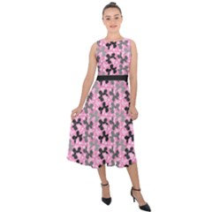 Retro Dogs Midi Tie Back Chiffon Dress by TwisterSister