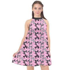 Retro Dogs Halter Neckline Chiffon Dress  by TwisterSister
