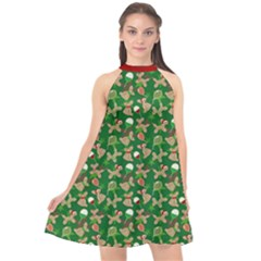 Holiday Animal Cookies Halter Neckline Chiffon Dress  by TwisterSister