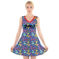 Merry Balloon Animals V Neck Sleeveless Dress by TwisterSister