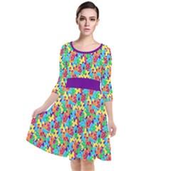 Jam Room Floor Quarter Sleeve Waist Band Dress by TwisterSister