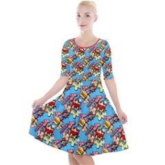 Comic Dogs Quarter Sleeve A Line Dress by TwisterSister