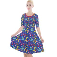 Merry Balloon Animals Quarter Sleeve A Line Dress by TwisterSister