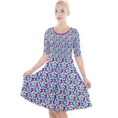 Swirly Pups Light Quarter Sleeve A Line Dress by TwisterSister