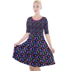 Swirly Pups Quarter Sleeve A Line Dress by TwisterSister