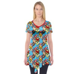 Comic Dogs Short Sleeve Tunic  by TwisterSister