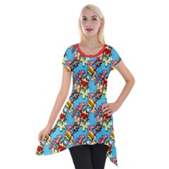 Comic Dogs Short Sleeve Side Drop Tunic by TwisterSister