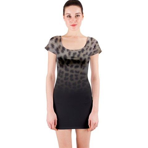 Ombre Leopard Print Animal Print Short Sleeve Bodycon Dress