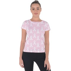 Pink Ribbon - Breast Cancer Awareness Month Short Sleeve Sports Top  by Valentinaart