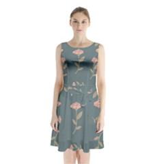 Florets Roses Rose Flowers Flower Sleeveless Waist Tie Chiffon Dress by Sapixe