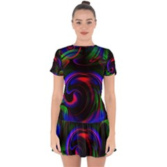 Swirl Background Design Colorful Drop Hem Mini Chiffon Dress by Sapixe