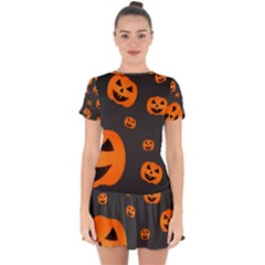 Halloween Pumpkin Autumn Fall Drop Hem Mini Chiffon Dress by Sapixe
