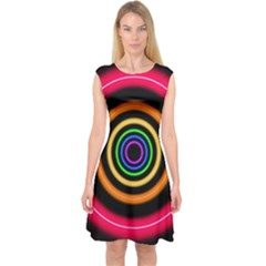 Neon Light Abstract Pattern Lines Capsleeve Midi Dress