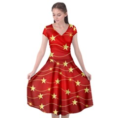 Stars Background Christmas Decoration Cap Sleeve Wrap Front Dress by Sapixe
