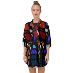 Art Bright Lead Glass Pattern Half Sleeve Chiffon Kimono by Sapixe