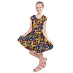 Color Mosaic Background Wall Kids  Short Sleeve Dress