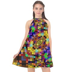 Color Mosaic Background Wall Halter Neckline Chiffon Dress  by Sapixe