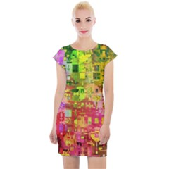 Color Abstract Artifact Pixel Cap Sleeve Bodycon Dress by Sapixe
