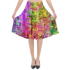 Color Abstract Artifact Pixel Flared Midi Skirt by Sapixe