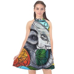 Graffiti The Art Of Spray Mural Halter Neckline Chiffon Dress  by Sapixe