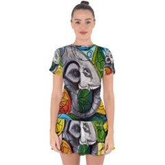Graffiti The Art Of Spray Mural Drop Hem Mini Chiffon Dress by Sapixe