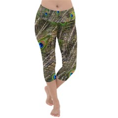 Peacock Feathers Color Plumage Green Lightweight Velour Capri Yoga Leggings by Sapixe