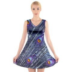 Peacock Feathers Color Plumage Blue V Neck Sleeveless Dress by Sapixe