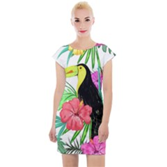 Leaves Tropical Nature Green Plant Cap Sleeve Bodycon Dress by Sapixe