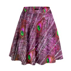 Peacock Feathers Color Plumage High Waist Skirt by Sapixe