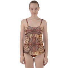 York Minster Chapter House Twist Front Tankini Set by Sapixe
