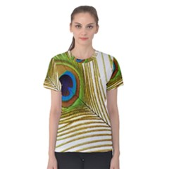 Peacock Feather Plumage Colorful Women s Cotton Tee