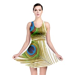 Peacock Feather Plumage Colorful Reversible Skater Dress by Sapixe