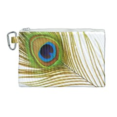 Peacock Feather Plumage Colorful Canvas Cosmetic Bag (large) by Sapixe