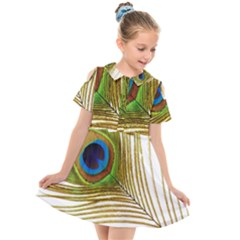 Peacock Feather Plumage Colorful Kids  Short Sleeve Shirt Dress