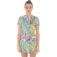 Leaves Tropical Nature Plant Drop Hem Mini Chiffon Dress by Sapixe