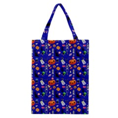 Halloween Treats Pattern Blue Classic Tote Bag