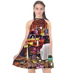 Painted House Halter Neckline Chiffon Dress  by MRTACPANS