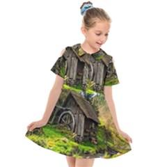 Landscape # 3 The Shed Kids  Short Sleeve Shirt Dress by ArtworkByPatrick