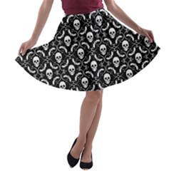Pattern Skull And Bats Vintage Halloween Black A Line Skater Skirt by genx
